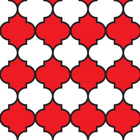 """2"""" Moroccan Quatrefoil Pattern   Black White and Red fabric by mkokolo on Spoonflower - custom fabric"""