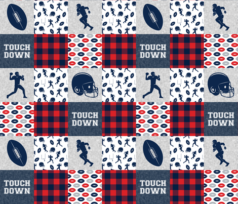 touch down - football wholecloth - red and blue -  plaid fabric by littlearrowdesign on Spoonflower - custom fabric