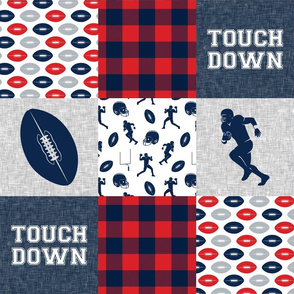 touch down - football wholecloth - red and blue -  plaid
