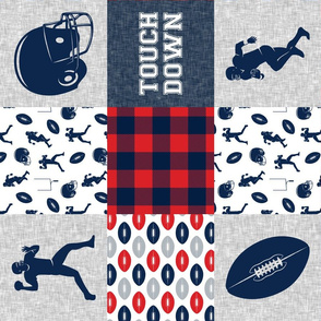 touch down - football wholecloth - red and blue -  plaid (90)