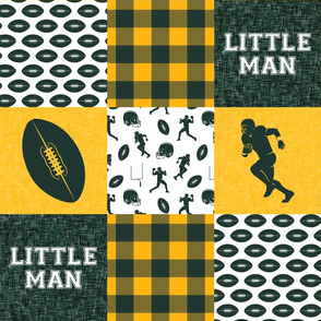 little man - football wholecloth - green and gold -  plaid