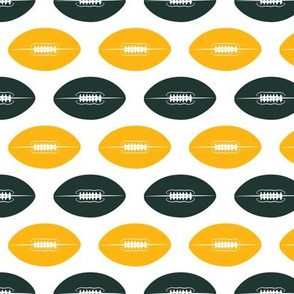 footballs (green and gold)