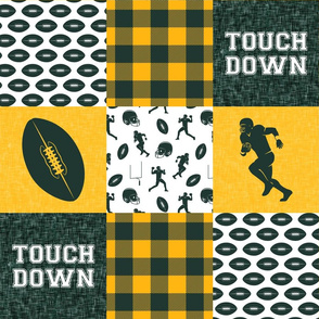 touch down - football wholecloth - green and gold -  plaid