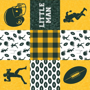 little man - football wholecloth - green and gold -  plaid (90)