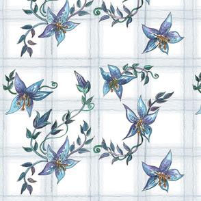 Blue White Floral Plaid
