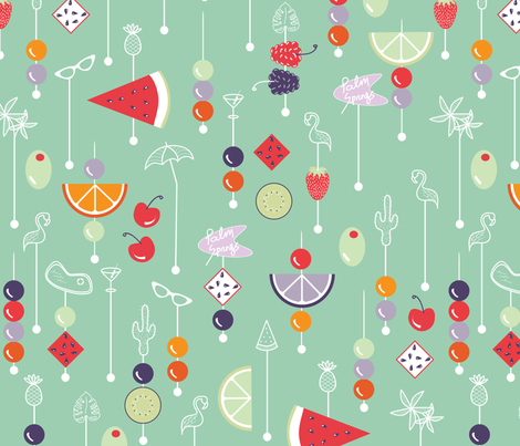 Palm Springs fruit cocktail - mint fabric by booboo_collective on Spoonflower - custom fabric