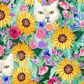 Sunflower floral with cats, dahlia, rose, anemone and beauty berry floral in watercolor