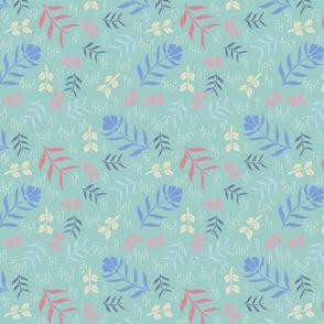 Retro Florals - aqua