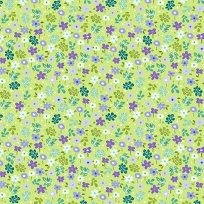 Ditsy Leaves and Flowers on lime green