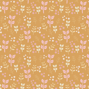 Retro Floral - mustard