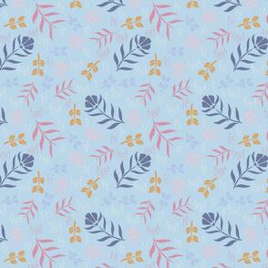 Retro Floral - Pastel - blue
