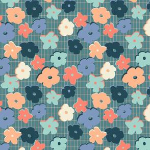 peach grid floral