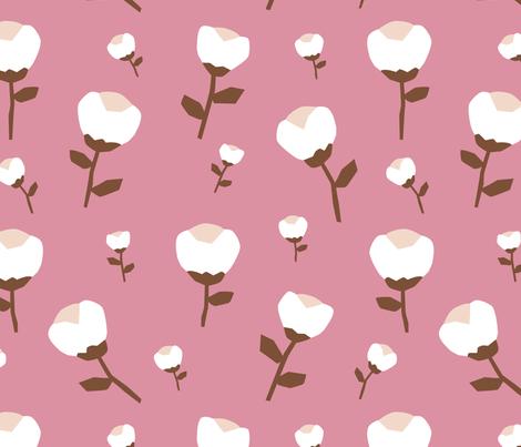 Paper cut cotton boll flower autumn bloom botanical garden theme pink jumbo fabric by littlesmilemakers on Spoonflower - custom fabric
