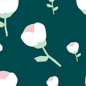 Paper cut cotton boll flower autumn winter bloom botanical garden theme teal mint jumbo