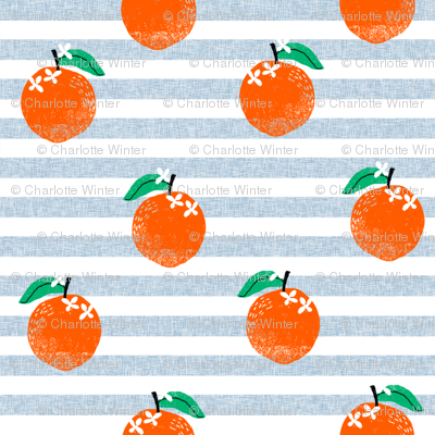 oranges fabric - orange, oranges, fruit, fruits, summer, stripes, kids, seasonal, farmers market, summer design - blue stripe
