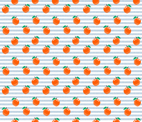 oranges fabric - orange, oranges, fruit, fruits, summer, stripes, kids, seasonal, farmers market, summer design - blue stripe fabric by charlottewinter on Spoonflower - custom fabric
