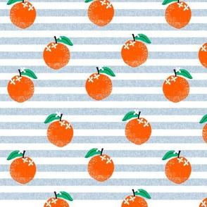 oranges fabric - orange, oranges, fruit, fruits, summer, stripes, kids, seasonal, farmers market, summer design - blue stripe