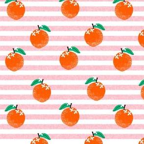 oranges fabric - orange, oranges, fruit, fruits, summer, stripes, kids, seasonal, farmers market, summer design - pink stripe