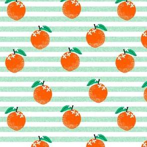 oranges fabric - orange, oranges, fruit, fruits, summer, stripes, kids, seasonal, farmers market, summer design - green stripe
