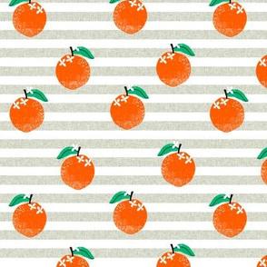 oranges fabric - orange, oranges, fruit, fruits, summer, stripes, kids, seasonal, farmers market, summer design - grey stripe
