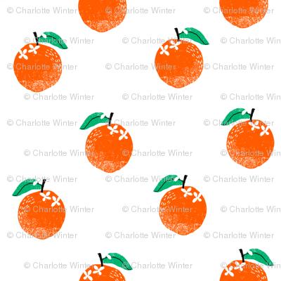 oranges fabric - orange, oranges, fruit, fruits, summer, stripes, kids, seasonal, farmers market, summer design -white