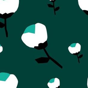 Paper cut cotton boll flower autumn bloom botanical garden theme green jade teal jumbo