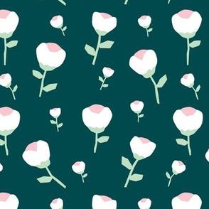 Paper cut cotton boll flower autumn winter bloom botanical winter garden theme teal mint jumbo