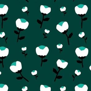 Paper cut cotton boll flower autumn bloom botanical garden theme green jade teal