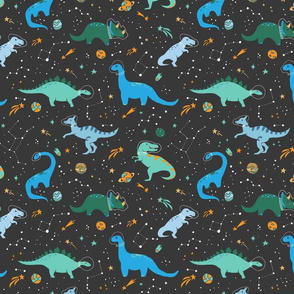 Dinosaurs in Space Blue + Green