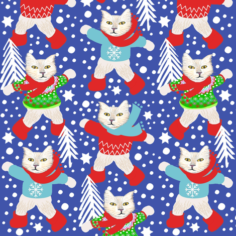 Scandinavian cats in snow // holiday / winter / snow day fabric by magentarosedesigns on Spoonflower - custom fabric