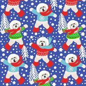 bichon frise dogs in fair isle jumpers &  snow