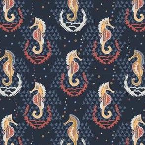 Navy Blue Seahorses Seamless Vector Pattern