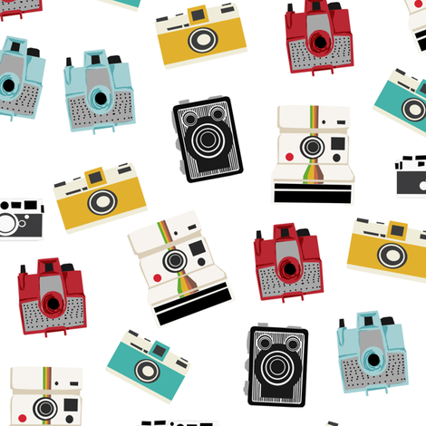 vintage cameras - polaroid, camera, vintage, leica, brownie, imperial cameras - white fabric by charlottewinter on Spoonflower - custom fabric