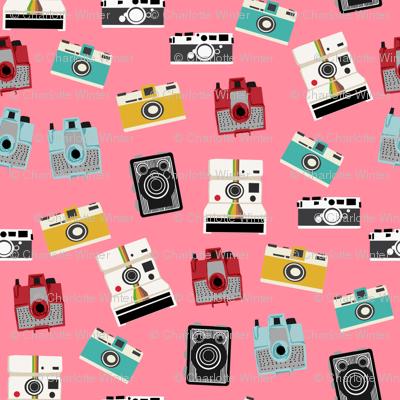 vintage cameras - polaroid, camera, vintage, leica, brownie, imperial cameras - bright pink