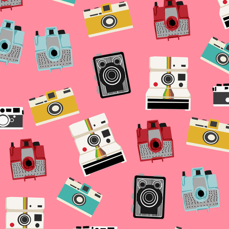 vintage cameras - polaroid, camera, vintage, leica, brownie, imperial cameras - bright pink fabric by charlottewinter on Spoonflower - custom fabric