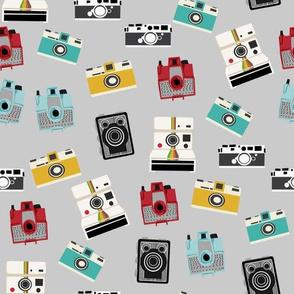 vintage cameras - polaroid, camera, vintage, leica, brownie, imperial cameras - grey