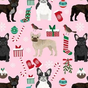 frenchie french bulldog christmas fabric - christmas, xmas, holiday, frenchie, french bulldogs, dog, dogs christmas