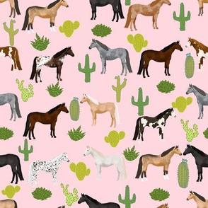 horse cactus fabric - texas, cowgirl, cowboy, kids, western, horses, farm, fabric - pink
