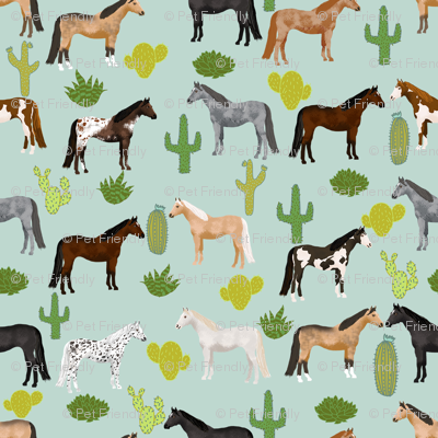 horse cactus fabric - texas, cowgirl, cowboy, kids, western, horses, farm, fabric - mint
