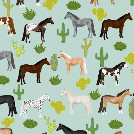 horse cactus fabric - texas, cowgirl, cowboy, kids, western, horses, farm, fabric - mint fabric by petfriendly on Spoonflower - custom fabric