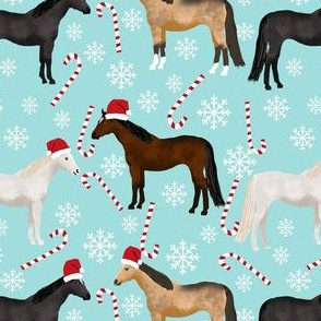 horses christmas fabric - holiday, xmas, christmas, candy cane,  peppermint stick, snowflake, christmas, winter - blue