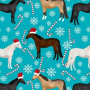horses christmas fabric - holiday, xmas, christmas, candy cane,  peppermint stick, snowflake, christmas, winter -teal