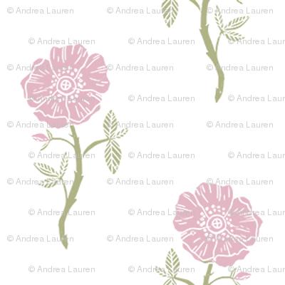 linocut bloom // linocut floral, florals, flower, stem, bloom, poppy, flower - white and pink