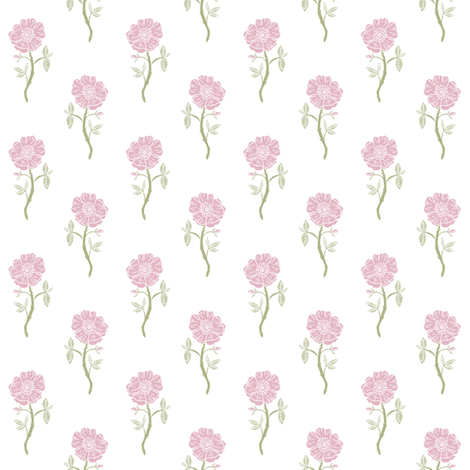 linocut bloom // linocut floral, florals, flower, stem, bloom, poppy, flower - white and pink fabric by andrea_lauren on Spoonflower - custom fabric