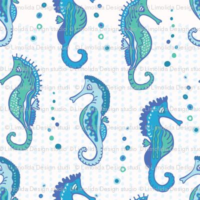 Detailed Blue Seahorses