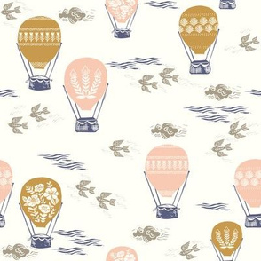 linocut hot air balloon // whimsical nature, cute floral, flowers, sky, clouds, bluebirds -