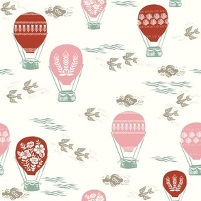 linocut hot air balloon // whimsical nature, cute floral, flowers, sky, clouds, bluebirds - red and pink