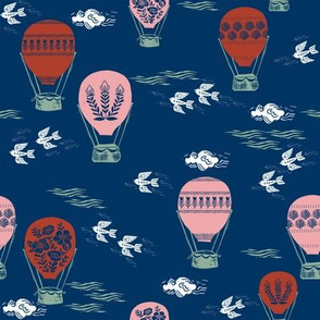 linocut hot air balloon // whimsical nature, cute floral, flowers, sky, clouds, bluebirds - navy