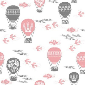 linocut hot air balloon // whimsical nature, cute floral, flowers, sky, clouds, bluebirds - pink and grey