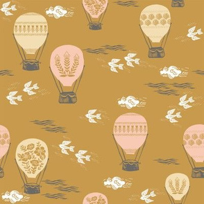 linocut hot air balloon // whimsical nature, cute floral, flowers, sky, clouds, bluebirds - mustard